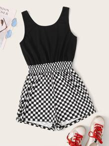 Contrast Checkered Shirred Waist Romper