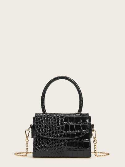 Croc Embossed Chain Flap Satchel Bag