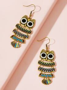 Owl Drop Earrings 1pair