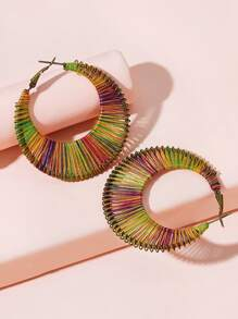 Colorful Braided Hoop Earrings 1pair