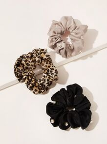 Faux Pearl Decor Leopard Pattern Scrunchie 3pcs
