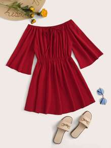 Off-shoulder Knot Front Solid Dress