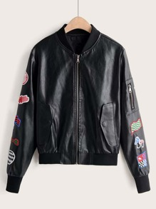 Patched Zipper Detail Bomber PU Jacket