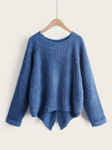 Split Back High Low Hem Sweater