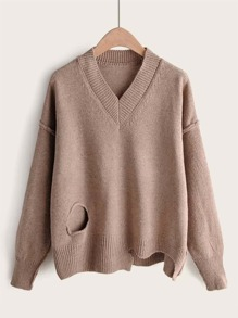V-Neck Cut Out Asymmetrical Hem Sweater