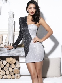 LOVE&LEMONADE One Shoulder Two Tone Glitter Dress