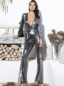 LOVE&LEMONADE Plunge Neck Zip Back Belted Metallic Jumpsuit