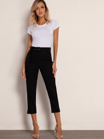Joyfunear Solid Belted Capris Pants