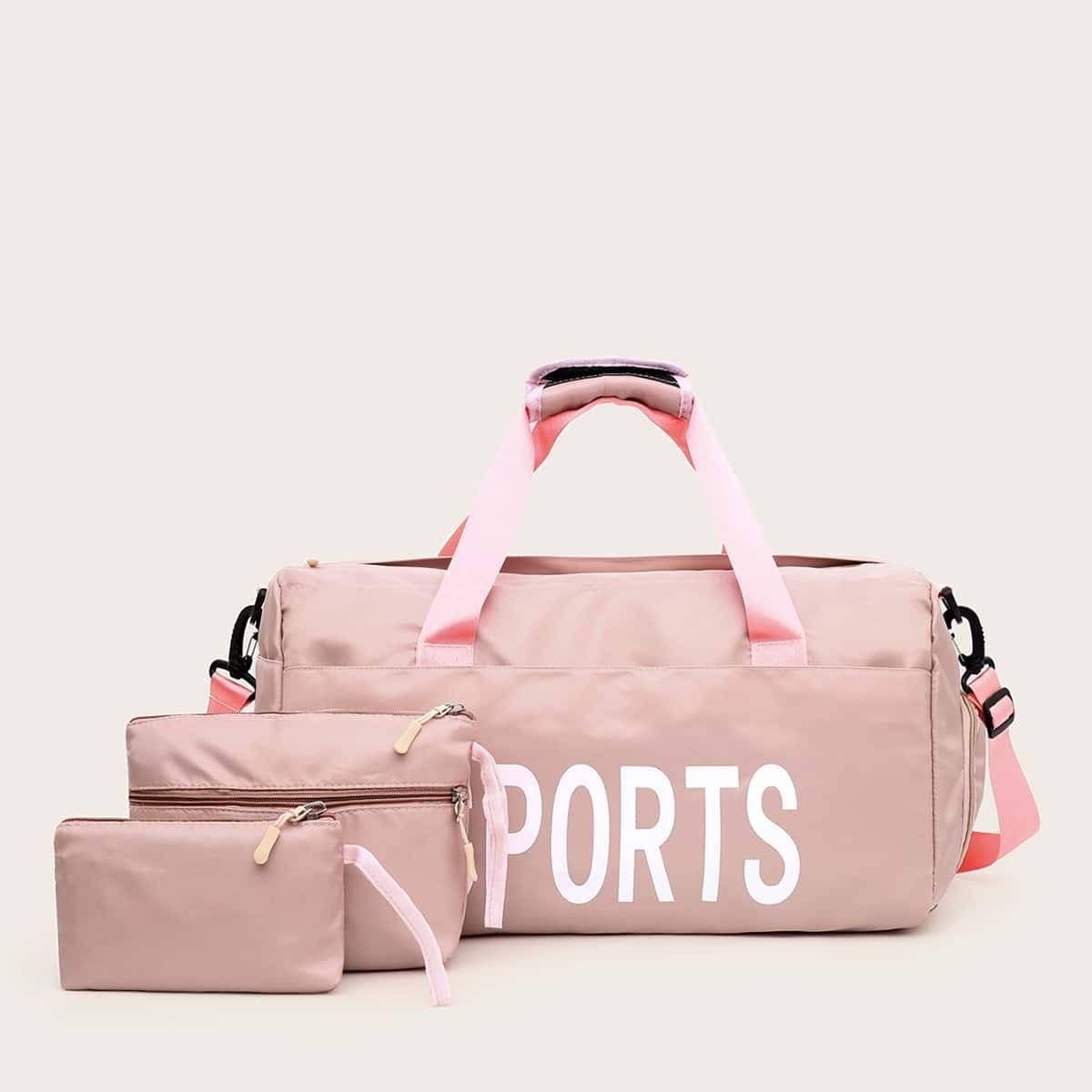 розовый Текст Повседневный Набор сумок