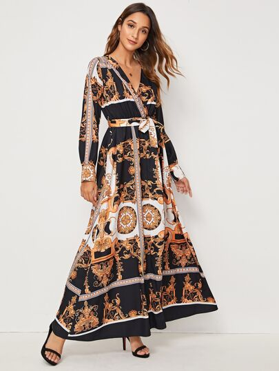 Paisley Print Self Tie Split Thigh Maxi Dress