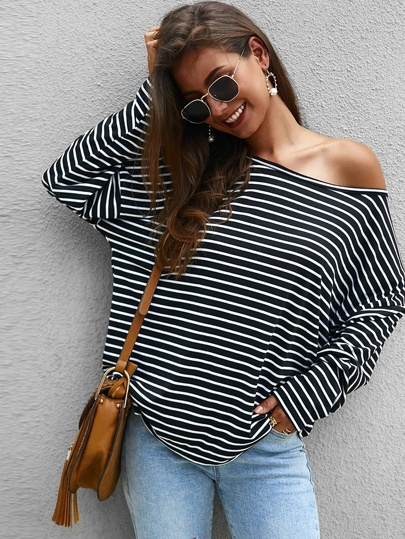 Striped Print Asymmetrical Neck Tee