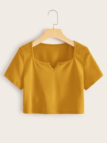 Notched Neck Rib-knit Crop Top