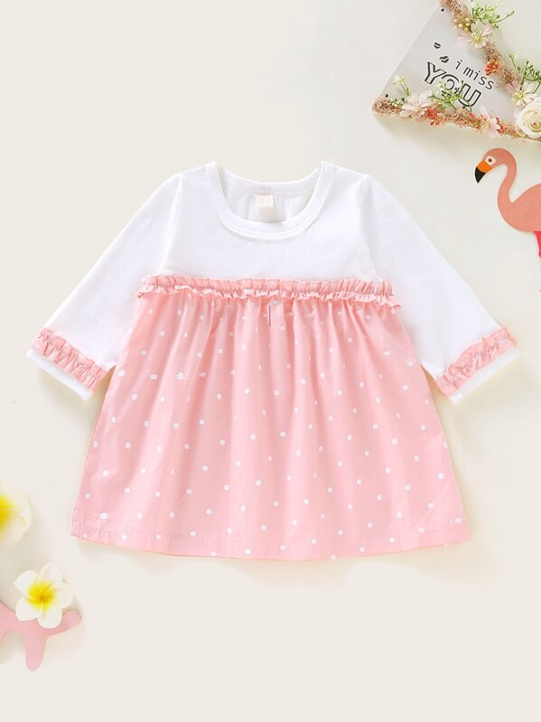 dda03ee7a5 Baby Girl Frill Trim Polka Dot Tee Dress