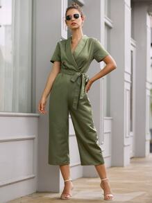 Solid Double-breasted Belted Jumpsuit