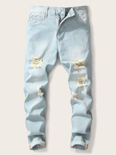 Guys Embroidery Back Ripped Washing Jeans