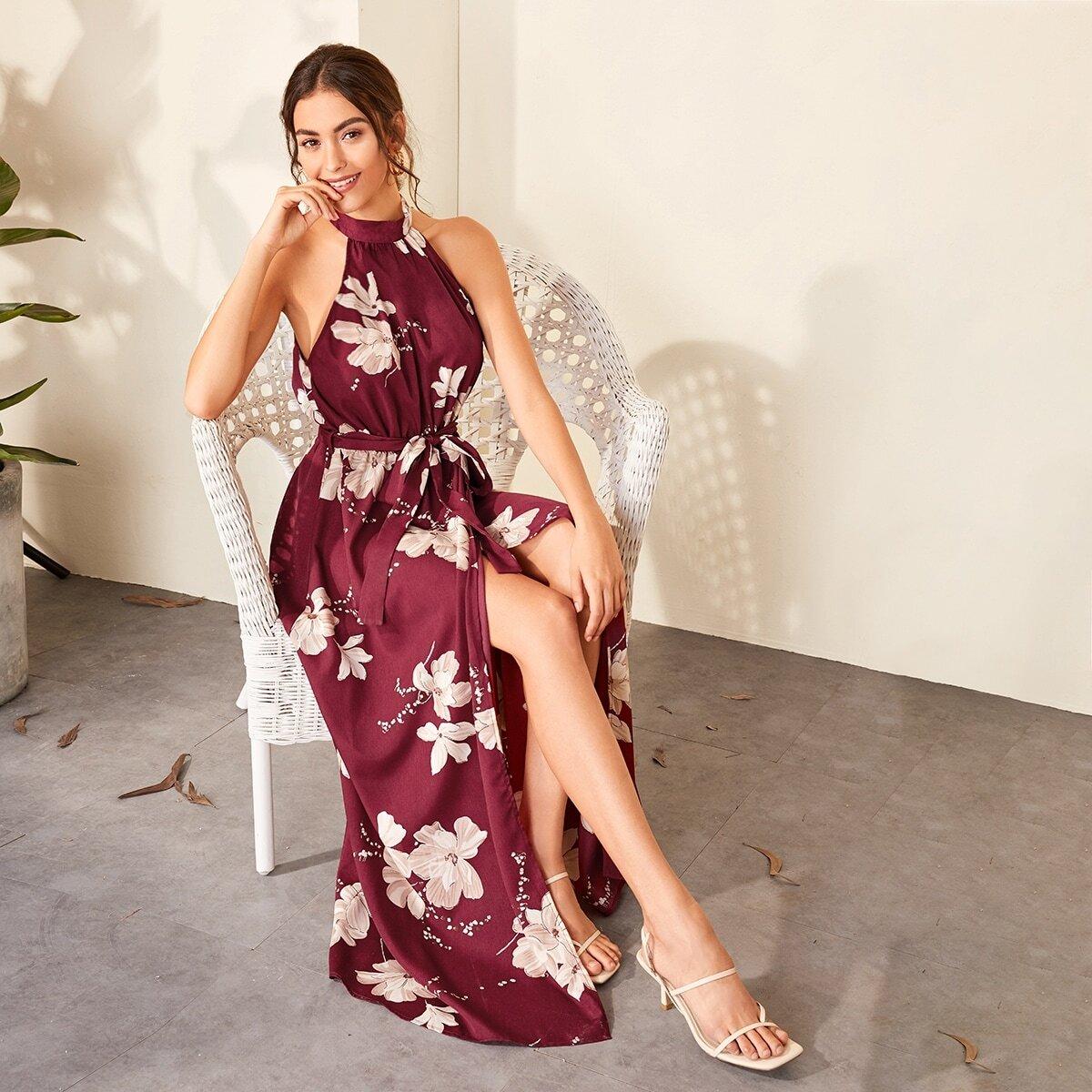 Платье-халтер с цветочным принтом и поясом