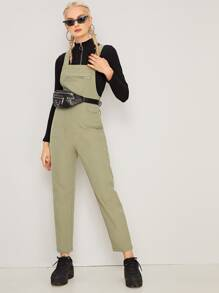 Zip Detail Criss Cross Back Overalls Without Bag