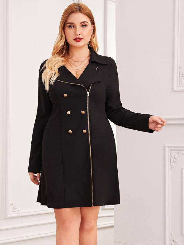 Plus Zipper Front Double Blazer Dress