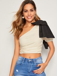 One Shoulder Big Bow Ruched Top