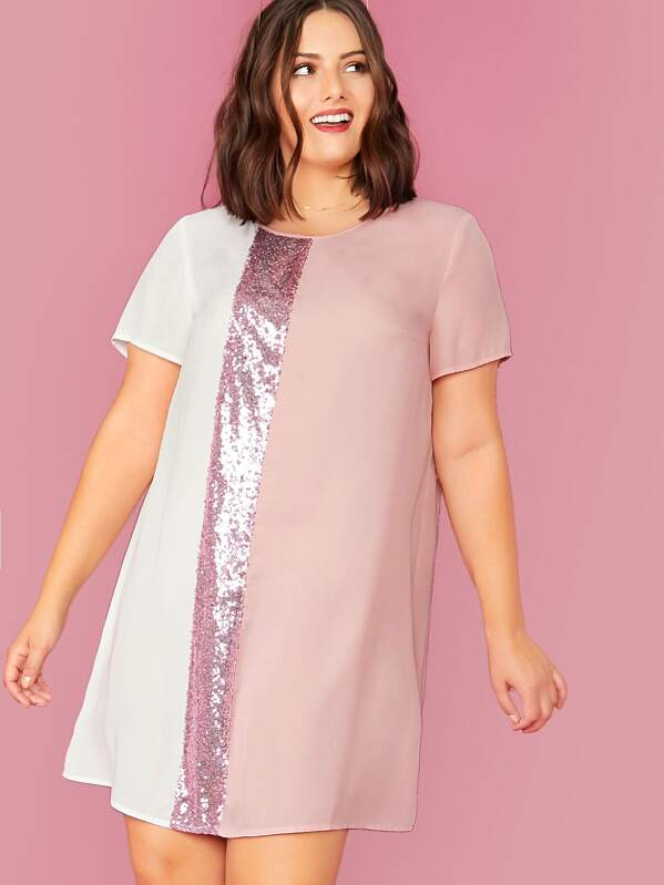 Plus Sequin Panel Colorblock Dress