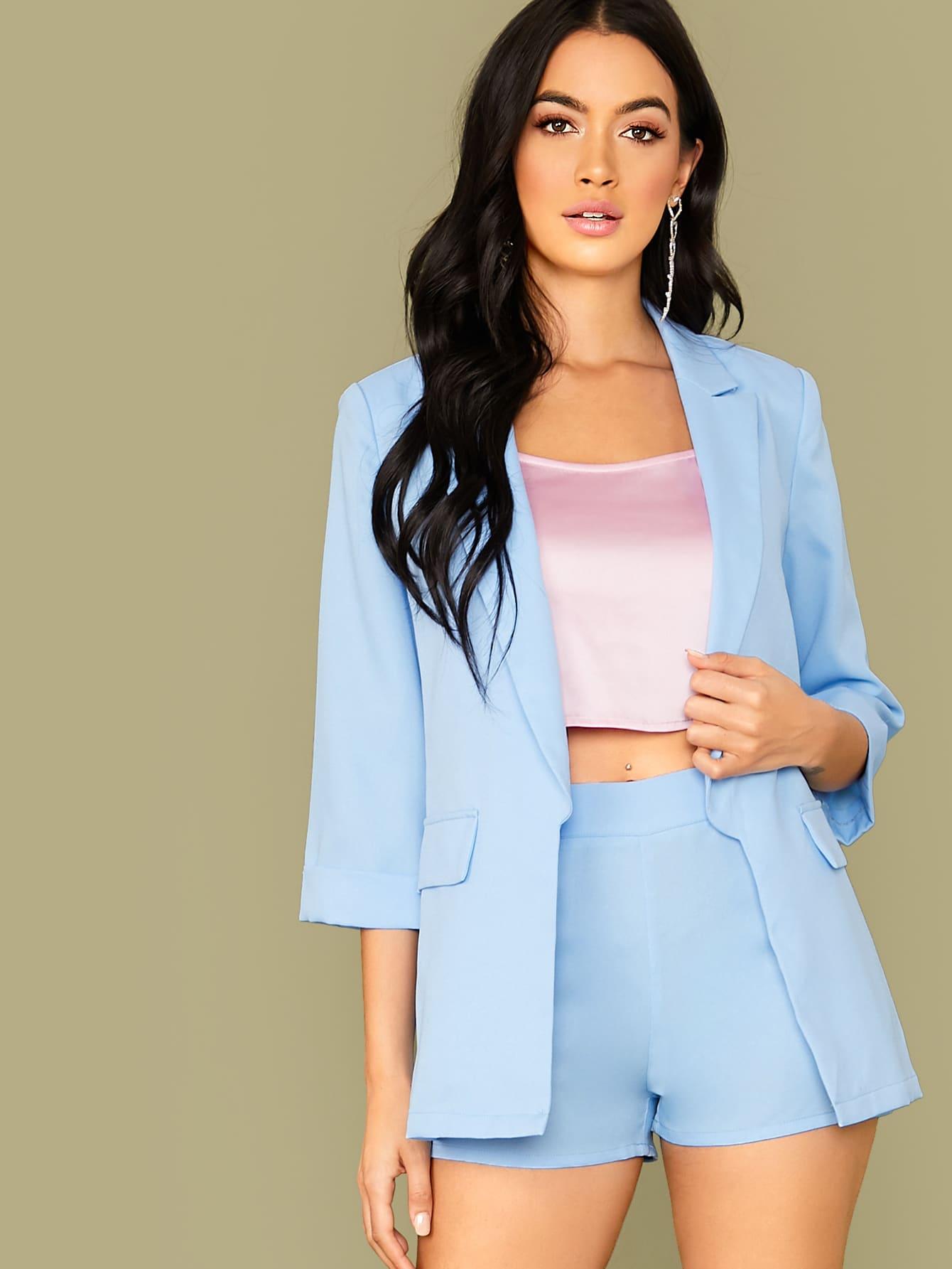 SheIn 2-teiliges Outfit mit gekerbtem Ausschnitt Blazer und Hose mit G/ürtel 3//4-/Ärmel