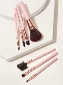 Two Tone Wooden Handle Makeup Brush Set 7pcs With Case