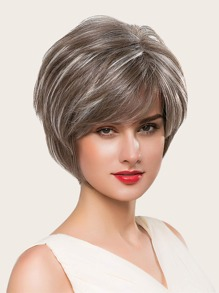 Natural Short Bob Wig With Bangs