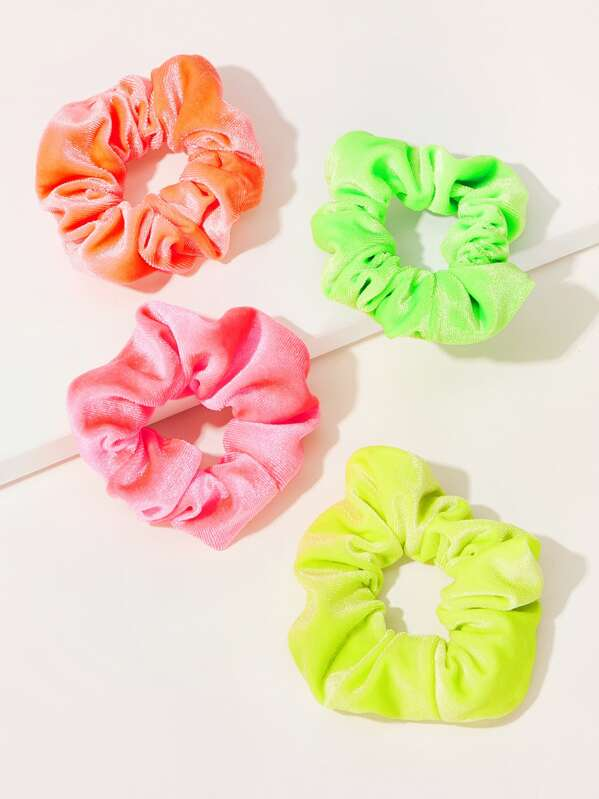 Velvet Neon Scrunchie 4pcs by Sheinside