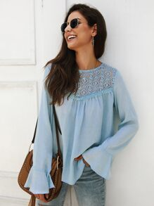 Solid Flounce Sleeve Contrast Lace York Blouse
