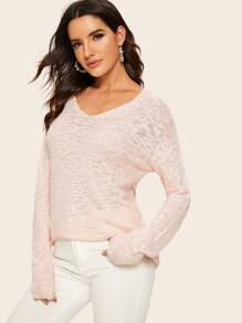 Drop Shoulder High Low Sweater