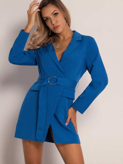 Joyfunear Solid Flap O-ring Belted Blazer Dress
