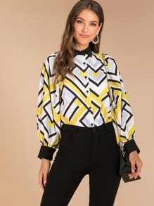 Geometric Print Bishop Sleeve Blouse