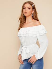 Off The Shoulder Tiered Layer Belted Blouse