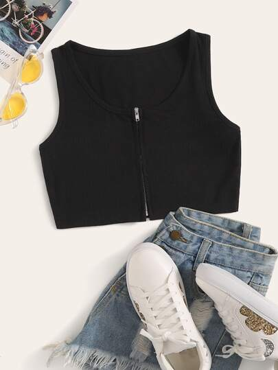 Zip Front Crop Tank Top