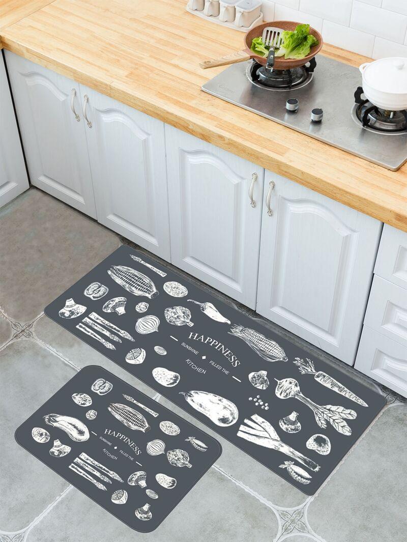 Vegetable Print Kitchen Floor Mat 1pc