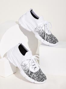 Two Tone Lace-up Front Sneakers