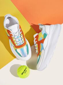 Lace-up Front Iridescent Panel Trainers
