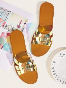 Iridescent Strap Open Toe Sliders