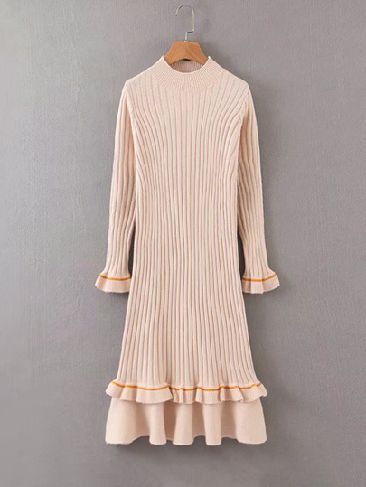 Ruffle Cuff Flounce Hem Sweater Dress