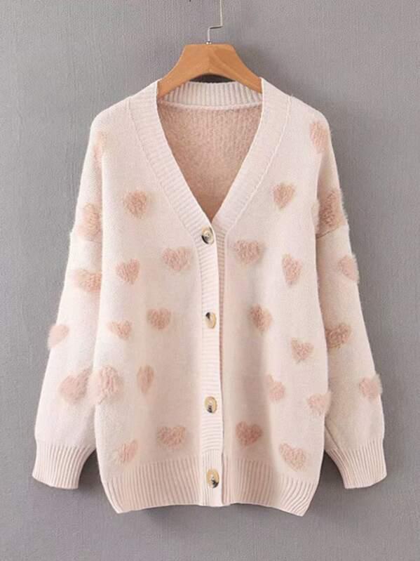 Heart Pattern Shaggy V Neck Sweater by Sheinside