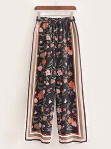 Side Striped Ditsy Floral Print Pants