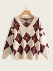 Argyle Print V-Neck Sweater