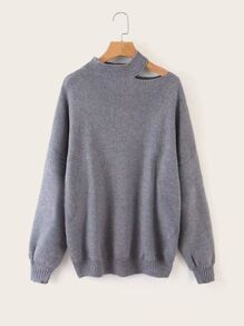 Cut Out Solid Dropped Shoulder Sweater
