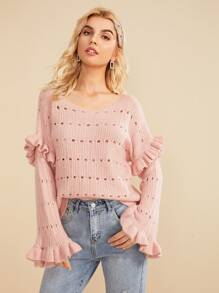 Pointelle Knit Ruffle Trim Sweater