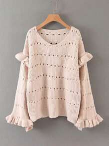 Ruffle Cuff Pointelle Knit V-Neck Sweater