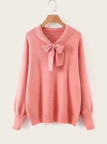 Tie Neck Solid Dropped Shoulder Sweater