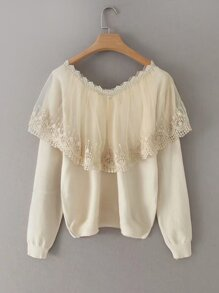 Contrast Mesh Scallop Lace Trim Sweater