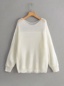 Pointelle Knit Dropped Shoulder Sweater