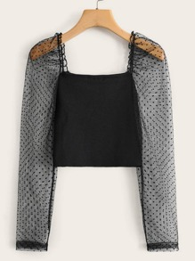 Contrast Dobby Mesh Sleeve Square Neck Top