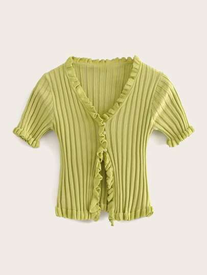 Lettuce Frill Trim Pearls Knit Top